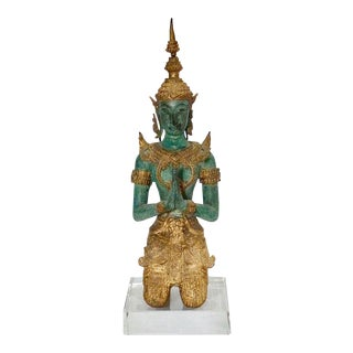 Bronze & Gold Leaf Praying Thai Buddha Sculpture For Sale
