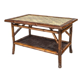 19th Century English Bamboo Tile Top Coffee Table For Sale