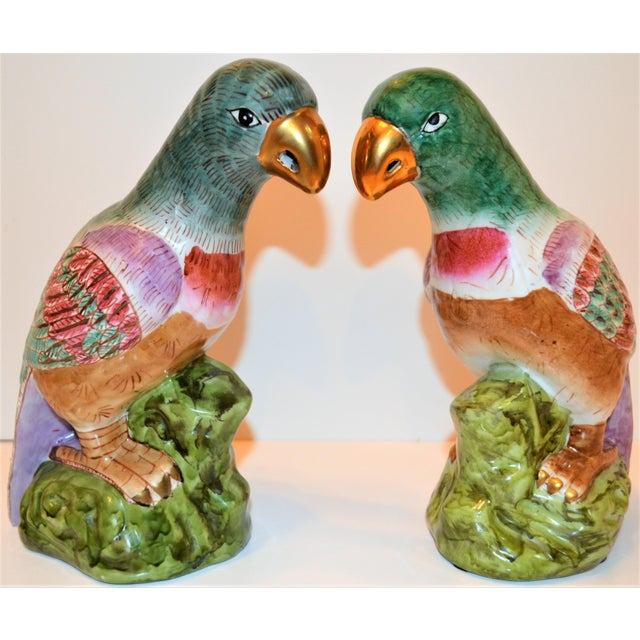 1980s (Final Markdown) Green Majolica Parrot Figurines - a Pair For Sale - Image 5 of 12