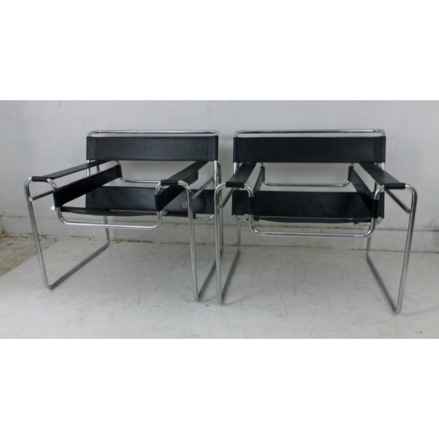 Marcel Breuer Black Leather Chrome Wassily Chairs - A Pair - Image 8 of 10