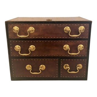 "Antique English ""Regimental"" Leather and Brass File Box, 100 Years Old For Sale"