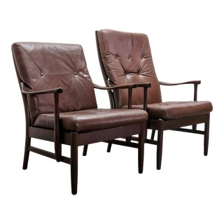 Danish Leather Side Chairs, 1950 - a Pair For Sale