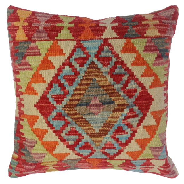 """Cherly Red/Ivory Hand-Woven Kilim Throw Pillow(18""""x18"""") For Sale"""