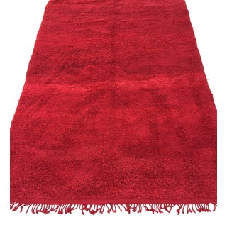 Vintage Red Tribal Moroccan Berber African Wool Rug For Sale