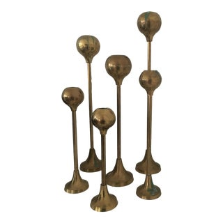 Vintage Mid-Century Modern Brass Candlesticks - Set of 6