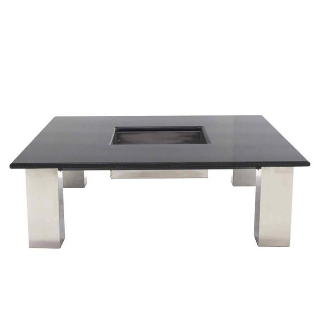 Mid-Century Modern Square Granite Top Coffee Table For Sale - Image 10 of 11