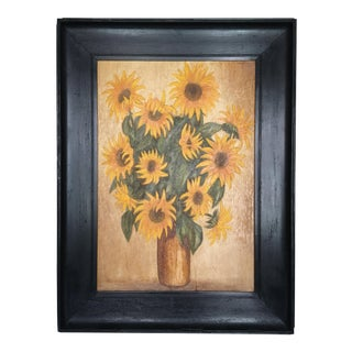 1960s Vintage Large Framed Oil on Canvas Sunflower Painting For Sale