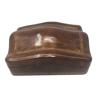 Mid Century Italian Leather Hump Back Box For Sale