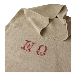 "Antique ""EO"" Monogram Homespun Plain Linen Hemp Grain Sack For Sale"