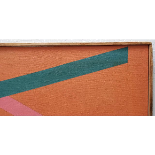Canvas Tom Patrick (American, 20th C.) Vintage Geometric Abstract Painting on Canvas C.1970s For Sale - Image 7 of 11