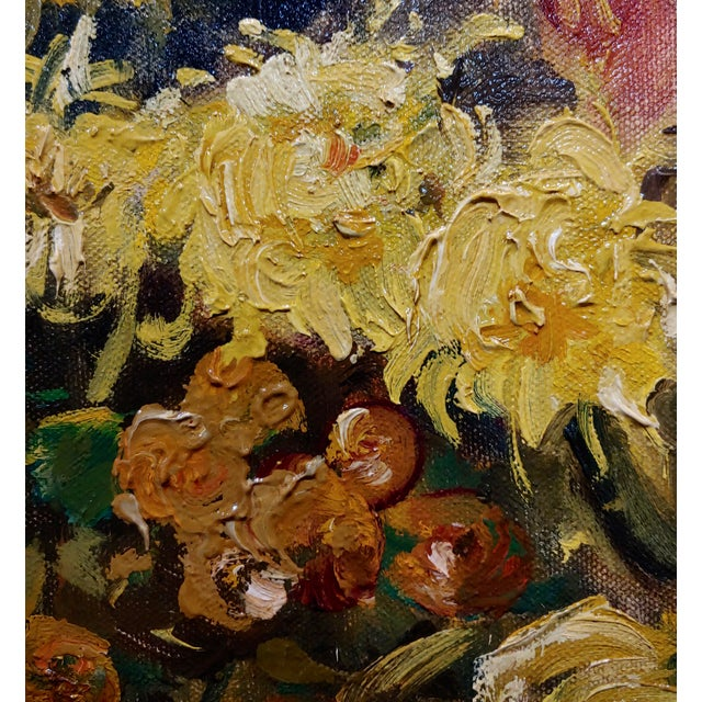 "Canvas Thorwald Albert Probst ""Flowers of Fall"" Still Life Oil Panting C.1910s For Sale - Image 7 of 11"