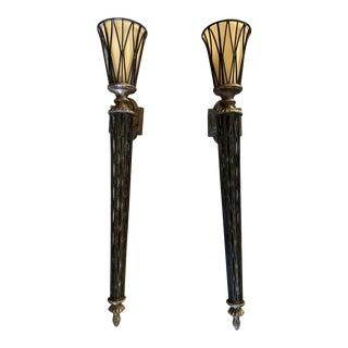 Bronze Type Light Sconces - a Pair For Sale
