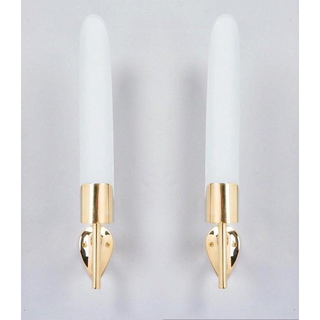 Mid-Century Modern Max Ingrand for Fontana Arte Long Sculptural Brass and Glass Midcentury Modern Sconces, Italy 1950s - a Pair For Sale - Image 3 of 7