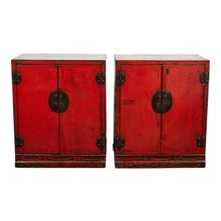 18th Century Chinese Pair of Two Door Cabinets For Sale
