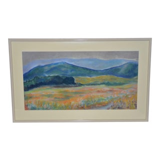 Pastel Landscape W/ Wildflowers by P. Keefe C.1986 For Sale