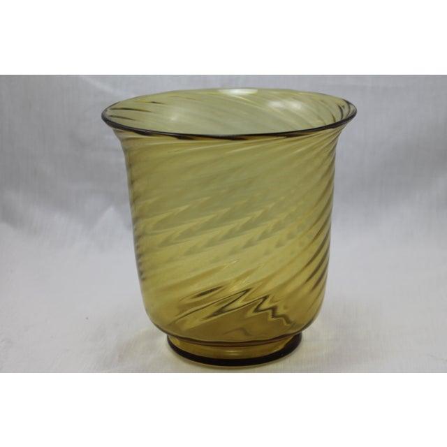 A very beautiful Art Deco era Steuben Glassworks Amber Swirl Vase/ Bowl, circa 1920-30's. Perfect condition.