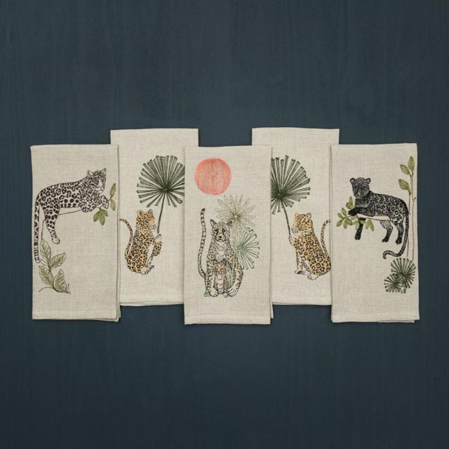 French Panther Perch Tea Towel For Sale - Image 3 of 6