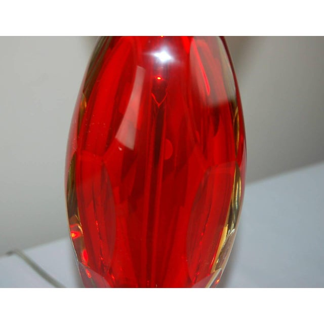 1960s Vintage Murano Glass Table Lamps Sommerso Red For Sale - Image 5 of 10