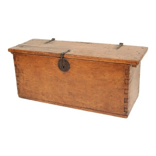 19th Century Rustic Trunk With Iron Hardware For Sale