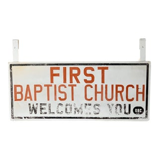 Vintage Church Sign For Sale