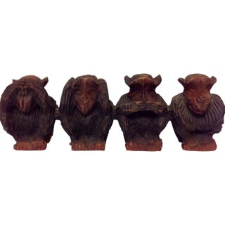 Vintage Hand Carved Wise Monkeys Sculpture - S/4 For Sale
