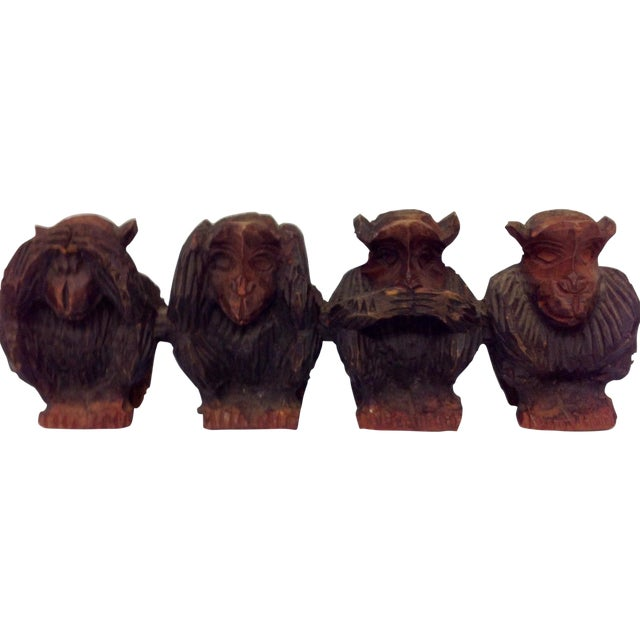Vintage Hand Carved Wise Monkeys Sculpture - S/4 For Sale