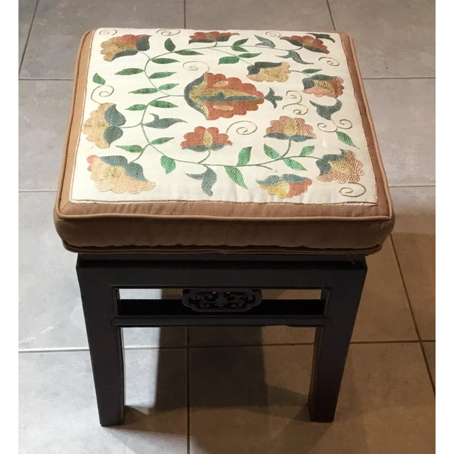 Wood Antique Upholstered Chinese Foot Stool For Sale - Image 7 of 13