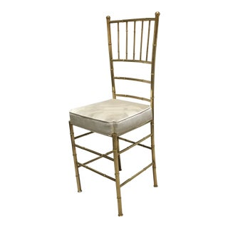 1950s Vintage Italian Brass Faux Bamboo Single Chair