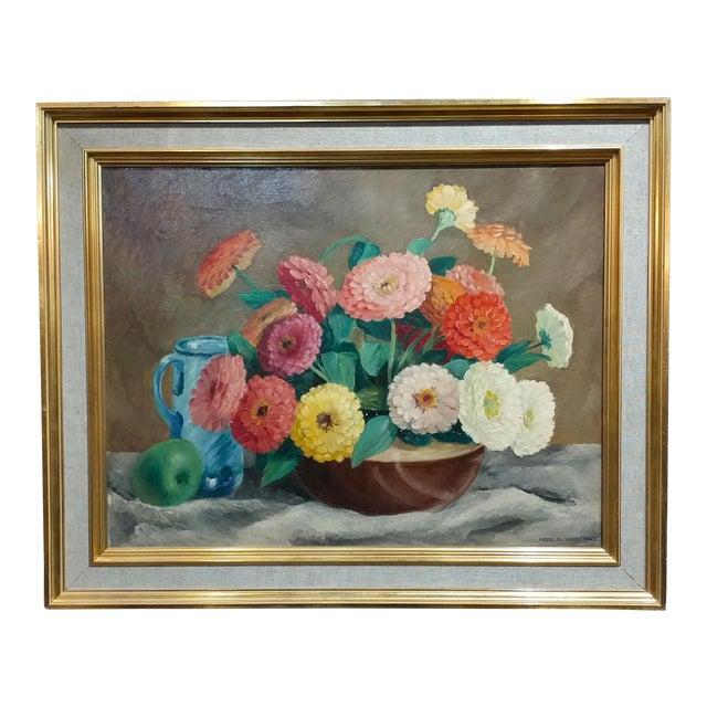 Frode Dann Still Life of Dahlias Oil Painting, 1942 For Sale