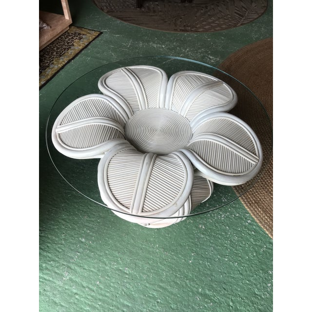 Tropical Pencil Reed Rattan Bell Flower Side Tables-Pair For Sale - Image 12 of 13