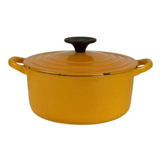 Le Creuset Orange Yellow Vintage Dutch Oven For Sale