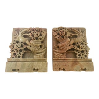 Asian Chinese Dragon Motif Hand-Carved Green Soapstone Bookends - a Pair For Sale