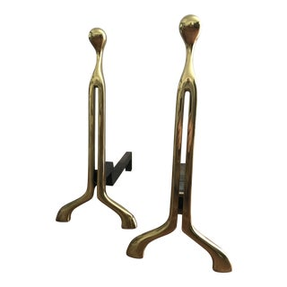 Modernist Virginia Metalcrafters Bronze Andirons - a Pair