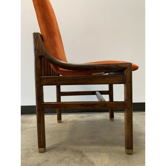 Orange 1970s Vintage Henredon Walnut Dining Chairs- Set of 8 For Sale - Image 8 of 13