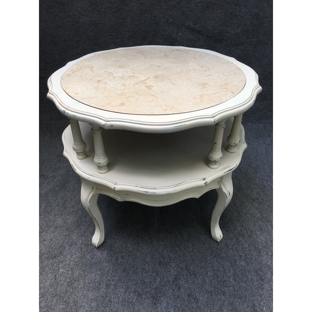 Gorgeous vintage 2 tiered Mersman table. Newly painted in Heirloom white chalk paint and lightly distressed. Original faux...