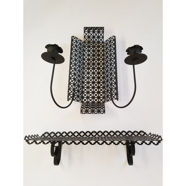 Mid Century Modern Wire Mesh Candle Holder & Shelf Set For Sale - Image 4 of 13