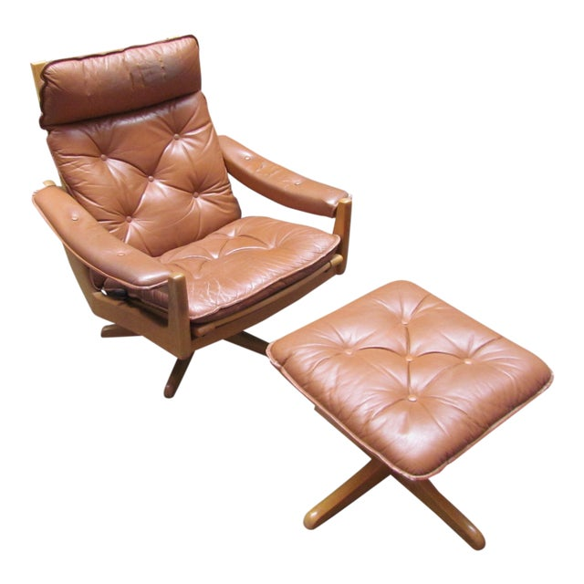 Lied Mobler Mid-Century Leather Recliner Chair & Ottoman - Image 1 of 9