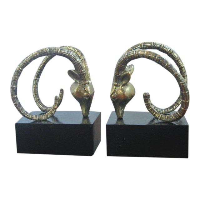 Ibex Bookends in the Manner of Alain Chervet For Sale