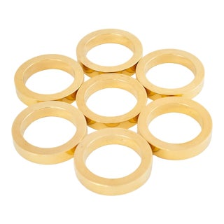 Mid-Century Solid Brass Napkin Rings Set/6 For Sale