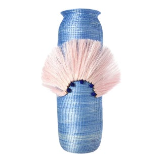 Fanned Out Large Tall Vase Denim For Sale