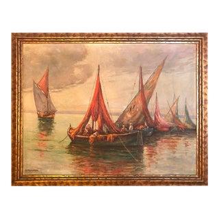 Oil Painting 'Fisherman at Sea' Signed Adolph Pannash