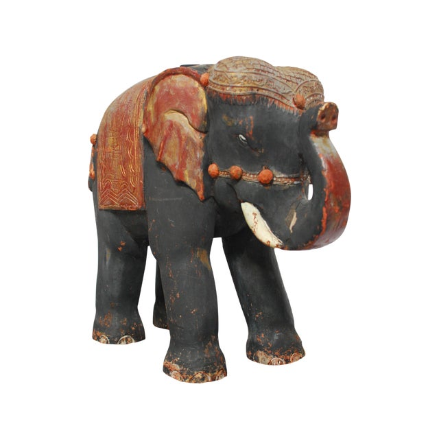 Antique Polychrome Carved Wood Elephant - Image 1 of 6