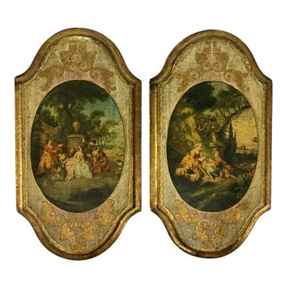 Italian Hand Carved Wood Framed Prints - a Pair For Sale