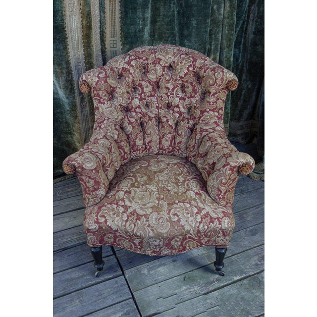 Pair of Tufted and Scrolled Back Armchairs For Sale - Image 4 of 11
