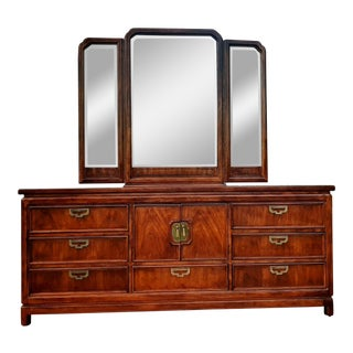 1980s Thomasville Mystique Asian Champaign Style Triple Dresser & Butterfly Mirror For Sale