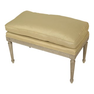 1950s Vintage Louis XVI Style Grisaille Painted Bench For Sale