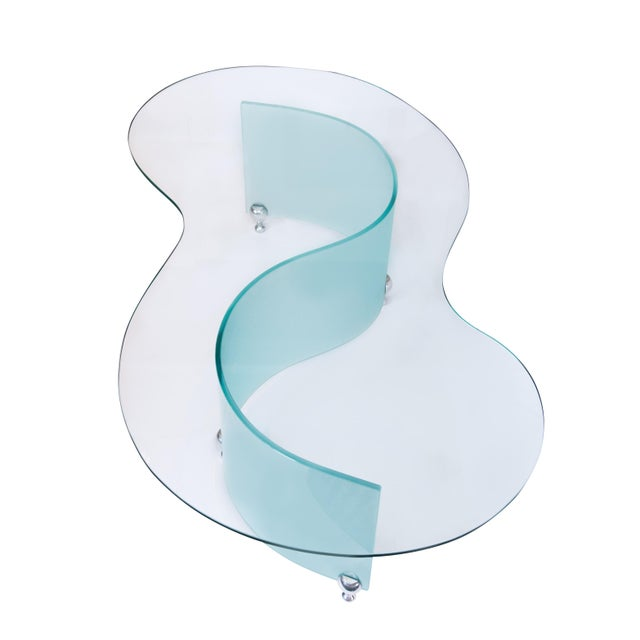 Modern S-Curve Glass Coffee Table - Image 1 of 6