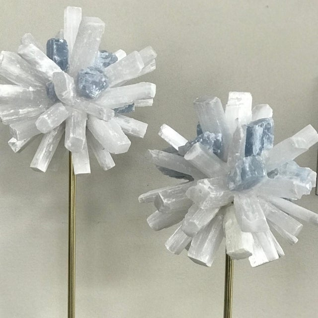 Selenite Sculptures on Glass Cube Stands - a Pair For Sale - Image 4 of 5