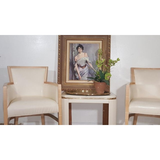 Helen Art Deco Cream Vinyl Armchairs - Pair - Image 5 of 5
