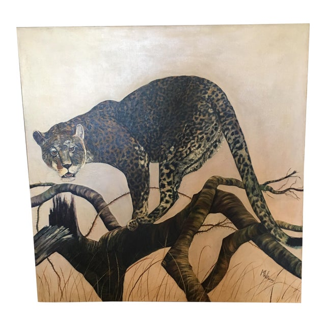 Mid-Century Leopard Oil Painting For Sale